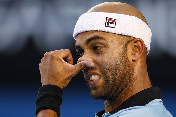 James Blake of the US during his match against France's Jo-Wilfried Tsonga at the Australian Open tennis tournament in Melbourne.