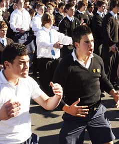 COURAGE: Shirley Boys' High School pupils perform a haka in the car ...