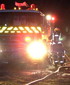 EARLY MORNING START: Firefighters at a blaze at a Southland wood pellet factory early yesterday morning.