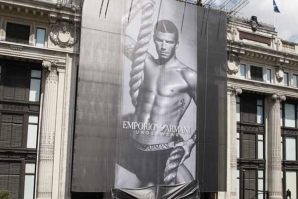 The new advertising campaign for Emporio Armani underwear featuring England footballer David Beckham is unveiled outside Selfridges department store on Oxford Street in London.