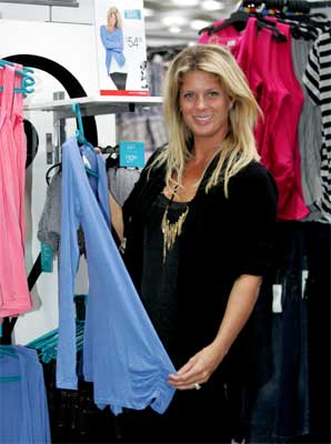 Rachel Hunter with some of the clothes in her Rachel collection on display at the Warehouse in Glenfield mall.