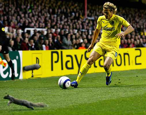 A squirrel runs off the pitch as Villarreal's Diego Forlan crosses the ball during the Champions League first leg semifinal football match against Arsenal at Highbury in London.