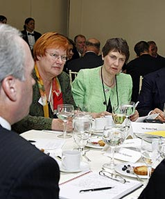 WORKING LUNCH: Former PM Helen Clark attends the UN Leadership Forum Luncheon.