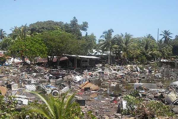 Personal belongings lie strewen around in the aftermath of the tsunami