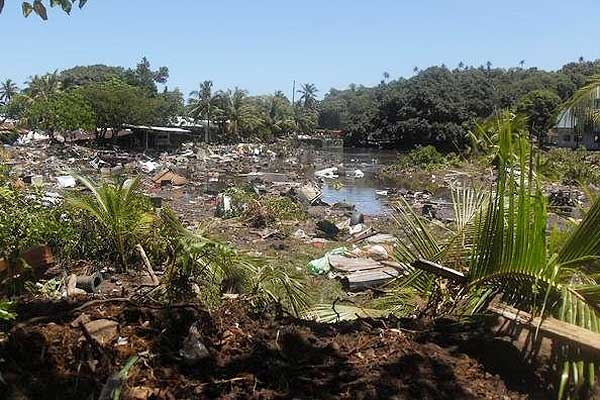 The tsunami swept through Leone, American Samoa