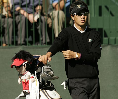 International team member Ryo Ishikawa of Japan stands on the first tee during his practice round for the Presidents Cup golf tournament at Harding Park Golf Course in San Francisco.
