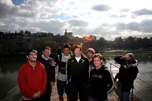Some members of the All Blacks on a day trip to Avignon as part of their free time/day off. From left,  Stephen Donald, Wyatt Crockett, Anthony Boric, Tom Donelly, Conrad Smith and Andrew Ellis and a photographer.