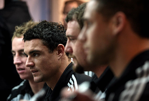 All Blacks Jimmy Cowan, Dan Carter, Tony Woodcock and Luke McAlister at a shirt signing session at an adidas store in Marseille.