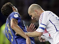 Zinedine Zidane head-butts Italy defender Marco Materazzi in the 2006 World Cup football final.