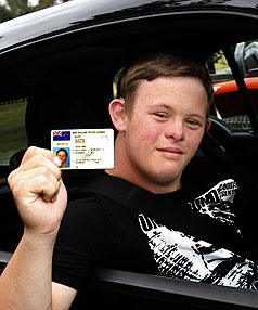 WHEEL EFFORT: Clayton Marr, 19, of Waimea West, who has Down syndrome, proudly displays his driver's licence.