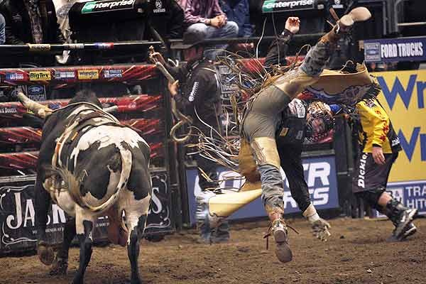 Austin Meier of Kinta, Oklahoma, is thrown off a bull named Chance at the Professional Bull Riders New York City Invitational at Madison Square.