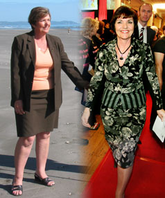Education Minister Anne Tolley in April 2005, left, and in September 2009