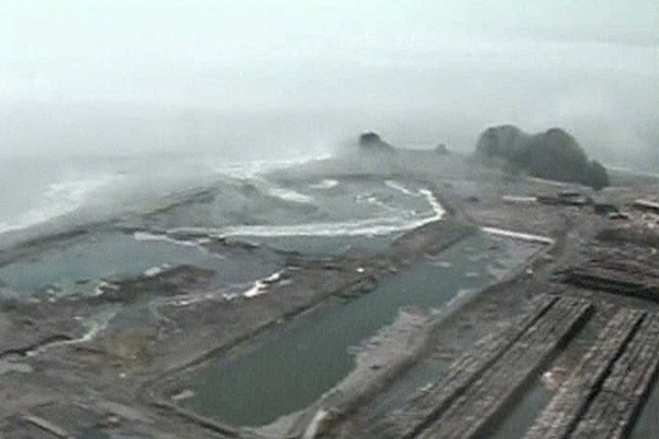 Waves are seen near the coastal town of Dichato, after Saturday's massive earthquake in Chile.