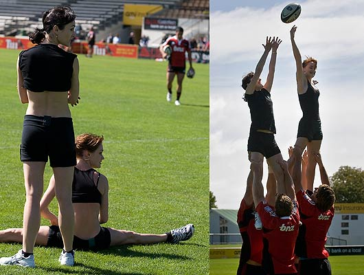 Clytie Campbell and Katie Hurst-Saxton from the Royal New Zealand Ballet watch the Crusaders while at right the duo are lifted in a line-out during the Super 14 team's training run at Rugby Park, Christchurch.