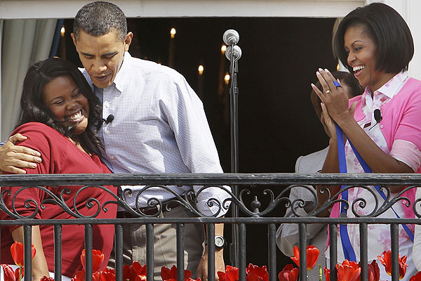 Amber Riley and President Obama