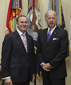 AT THE WHITE HOUSE: United States Vice President Joe Biden meets with New Zealand Prime Minister John Key.