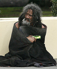 NEW PATCH? Wellington's Ben Hana, widely known as Blanket Man, turned up in Blenheim yesterday. Hana is a well-known homeless man in the capital.