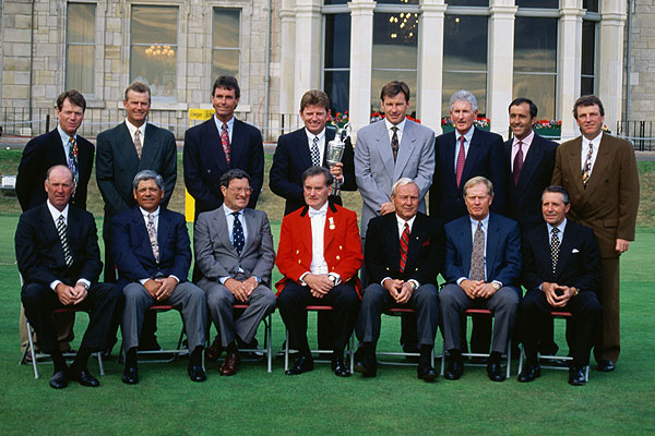 Bob Charles with past champions at the 1995 British Open.