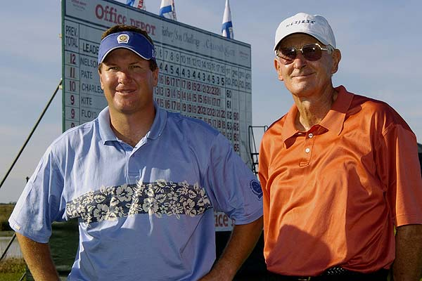 Bob Charles (left) and David Charles (right) after final-round play in the Office Deport Father/Son Challenge at ChampionsGate Resort near Orlando, Florida in 2004.