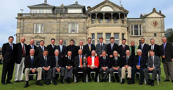 Former British Open champions pose for a photo ahead of the Champions Dinner at St Andrews (front row, from left): Tom Weiskopf of the USA, Tony Jacklin of England, Bob Charles of New Zealand, Gary Player of South Africa, Stewart Cink of the USA, Colin.M.Brown the Captain of the Royal and Ancient Golf Club of St Andrews, Peter Thompson of Australia, Arnold Palmer of the USA, Roberto De Vicenzo of Argentina, Lee Trevino of the USA, Tom Watson of the USA. Back row: Ben Curtis of the USA, Tom Lehman of the USA, Mark O'Meara of the USA, Justin Leonard of the USA, Todd Hamilton of the USA, David Duval of the USA, Paul Lawrie of Scotland, Mark Calcavechia of the USA, Ian Baker-Finch of Australia, Ernie Els of South Africa, Nick Faldo of England, Padraig Harrington of Ireland, John Daly of the USA, Tiger Woods of the USA, Bill Rogers of the USA, and Sandy Lyle of Scotland.
