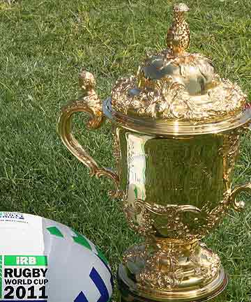 The William Webb Ellis Cup, the prize for those competing at the 2011 Rugby World Cup in New Zealand.