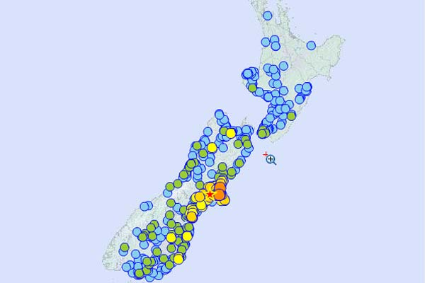 Canterbury earthquake, GNS Map