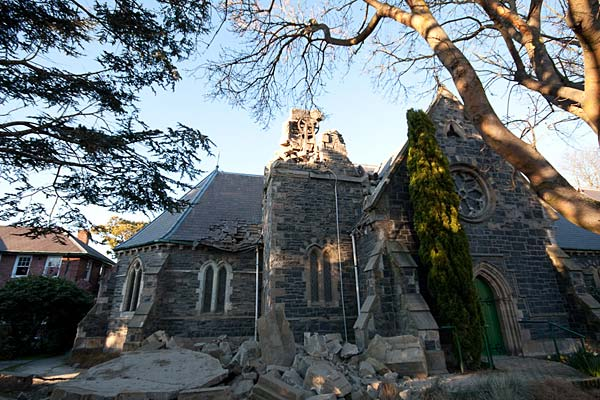 Christchurch earthquake - crumbled church