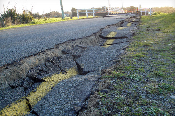 A road near spencerville is buckled following the Canterbury earthquake.