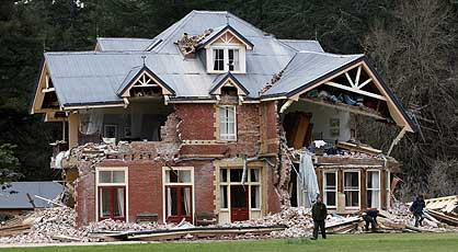 SAD END: Homebush, the Canterbury home of the Deans family for six generations, was turned to rubble. Jim Deans, second cousin of Wallabies rugby coach Robbie, and his wife escaped from their second floor bedroom as it collapsed. The homestead is likely to be demolished.