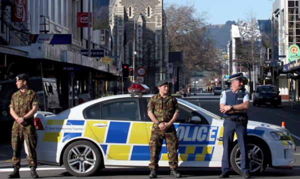 Army troops assist police in central Christchurch.