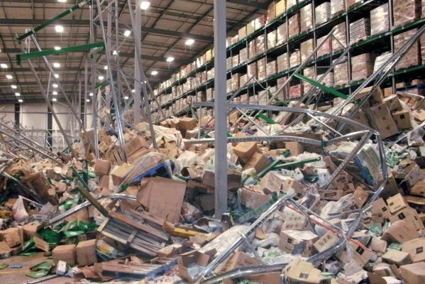 Collapsed shelving and stacked goods at the Foodstuffs Distribution Centre in Hornby.
