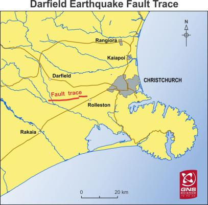 Earthquake fault trace.