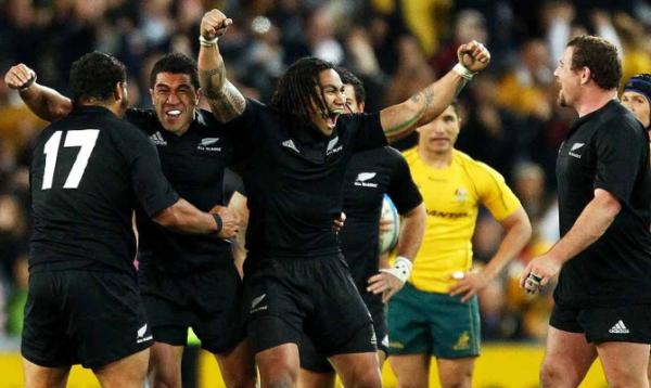 All Blacks celebrate victory over Australia in Sydney.
