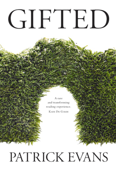 Cover image of the novel Gifted: white background and a green hedge with a gap in it.