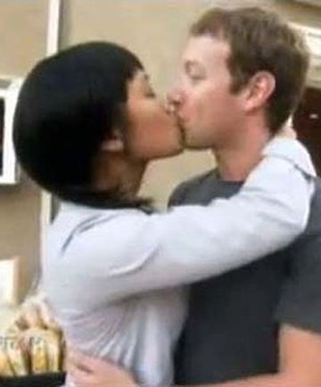 AT HOME: Mark Zuckerberg kisses his girlfriend Priscilla Chan in the clip