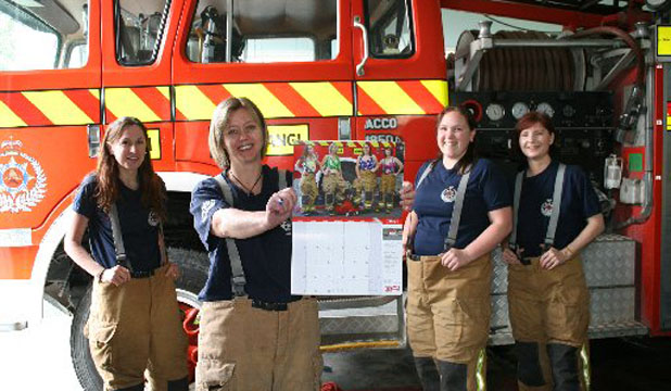 firefighter calendar girls. Firefighters pose for calendar