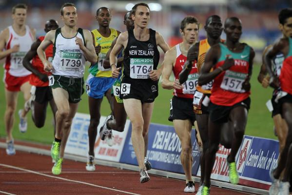 New Zealand's Nick Willis is in the pack during the early stages of the men's 1500m final at the Delhi Commonwealth Games.