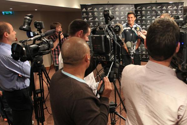 All Black Sonny-Bill Williams fronts a media conference at the Royal Garden Hotel in Kensington, High Street, London, as the team prepares to play England.