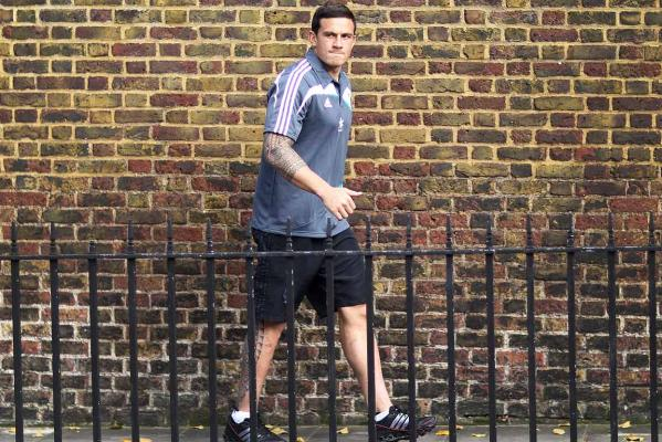 Sonny Bill Williams enjoys the autumn colours in Kensington Park beside the Royal Garden Hotel in Kensington, High Street, London where the All Blacks are staying before playing the English rugby team at Twickenham.