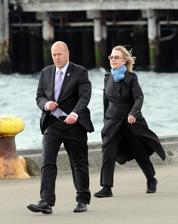 Hillary Clinton on Wellington waterfront