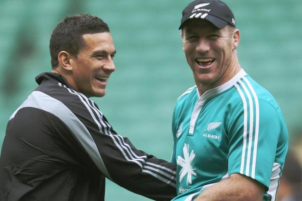 Ex-rugby league stars Sonny-Bill Williams and Brad Thorn joke around during the Captain's Run before the All Blacks test against England at Twickenham.
