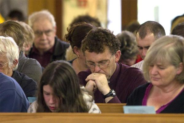 A church service for friends and family to light a candle for the trapped miners at the Holy Trinity Anglican Church in Greymouth.