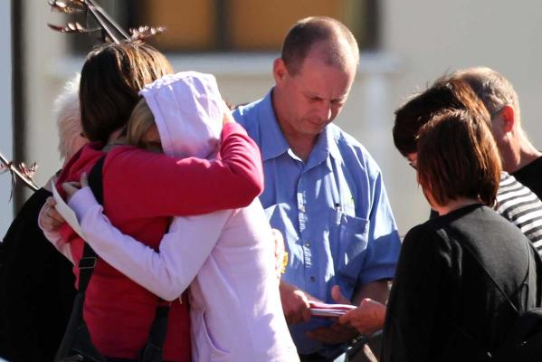 AGONY OF WAITING: Family leave a briefing after viewing CCTV footage of the explosion at the Pike River coal mine.