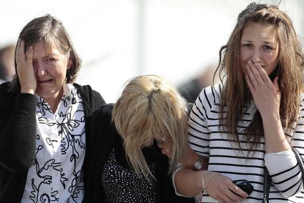 Family members of miners trapped underground in the GRIEF: Pike River coal mine react after learning of a second explosion in the mine at a briefing by mine authorities and police.