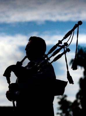 Bagpiper practices for Pike River Mine memorial.