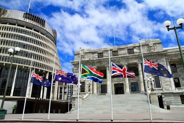 Pike River memorial day - flags at half mast at Parliament.