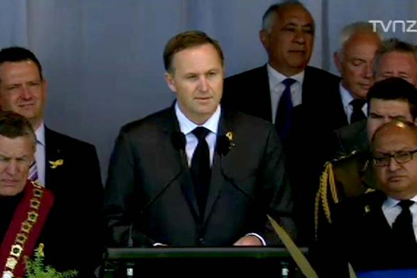 PM John Key addresses the Pike River mine disaster memorial
