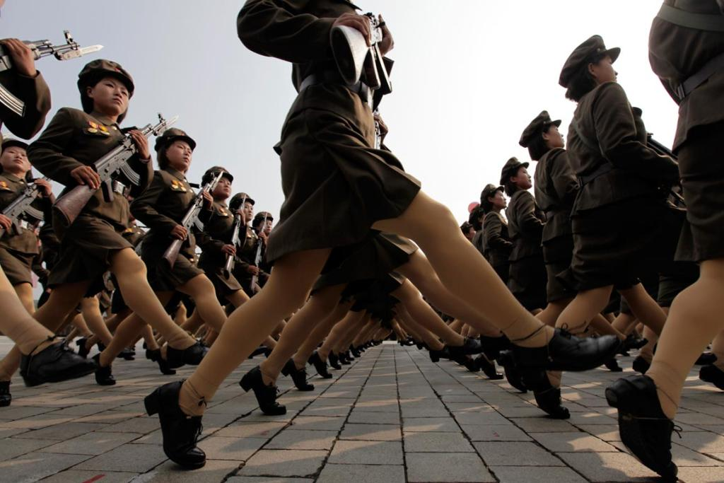 north korean women marching. photo of North Korean