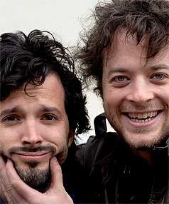 TWO LITTLE SMILES: Bret McKenzie, left, and Australian comedian Hamish Blake, right, are to star in a comedy feature, Two Little Boys, to be filmed in Southland in the new year.