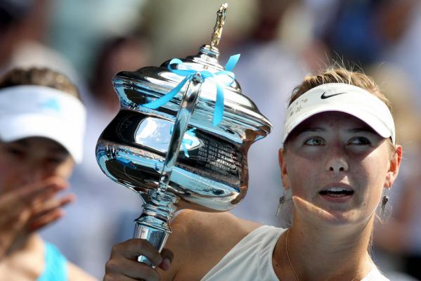 Maria Sharapova holds her winners trophy during the presentation ceremony after their women's singles final match at the Australian Open tennis tournament in Melbourne in 2008.